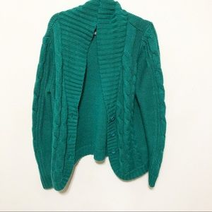St. John's Bay Green Cable Knit Cardigan Sz XL